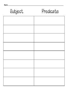Simple Suject and Predicate 3rd grade Common Core Review