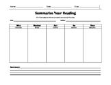 Simple Summary Graphic Organizer