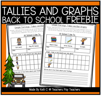 Simple Surveys: Tallies and Bar Graphs for Back to School *FREEBIE*