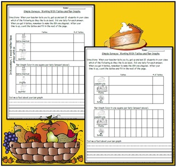 Simple Surveys: Tallies and Bar Graphs for November (Thanksgiving)