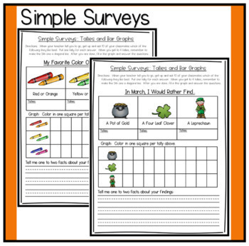 Simple Surveys For Spring ~ Using Tallies and Bar Graphs