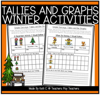 simple surveys tallies and bar graphs for winter by kelli c tpt