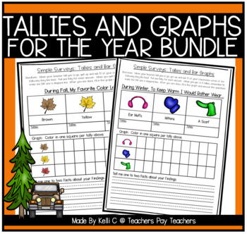 simple surveys tallies bar graphs bundle for the year by kelli c