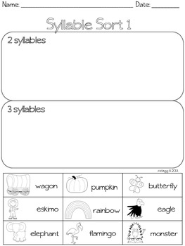 LITERACY: Simple Syllables Station Activities