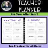Simple Teacher Binder/Planner - large layout, black/white/