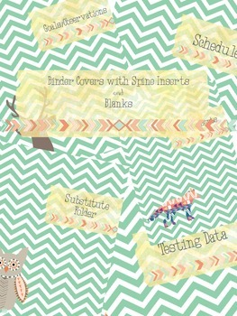 simple teal chevron binder covers