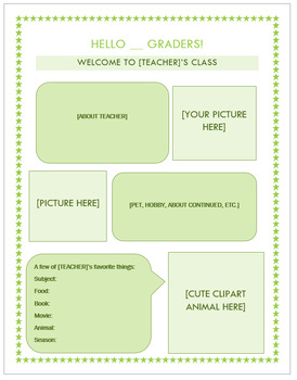 Simple Template for a Welcome Letter to Students