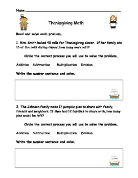 Simple Thanksgiving Math Word Problems