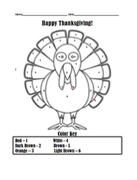 Simple Thanksgiving Turkey Color by Number