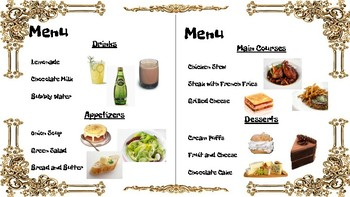 Simple Themed Menus for Food & Table Service Lessons; FACS Culinary Manners SPED