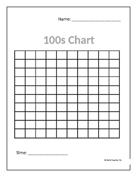 Simple Timed Hundreds Chart   Math Activity   FREE