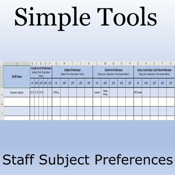 Simple Tools: Teacher Subject Preferences