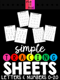 Simple Tracing Sheets - Letters and Numbers 0-20