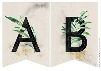 TROPICAL Alphabet Bunting (Simple White Design)
