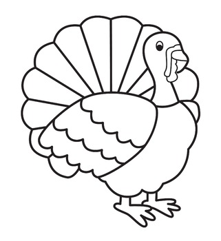 Simple Turkey line clip art black and white