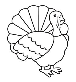 Simple Turkey line clip art black and white