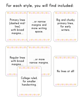Simple Valentine writing paper set - primary lines, regular and more