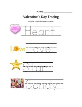Simple Valentine's Tracing