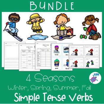 SIMPLE Verb Tense SEASONS BUNDLE - Winter, Spring, Summer, Fall