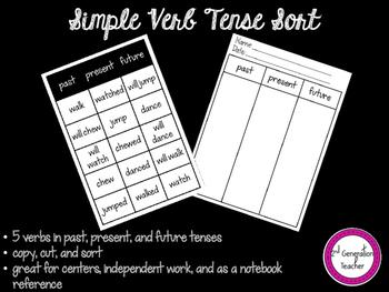 Simple Verb Tense Sort
