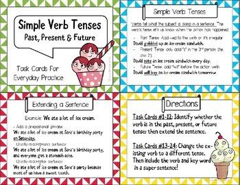 Simple Verb Tenses Task Cards
