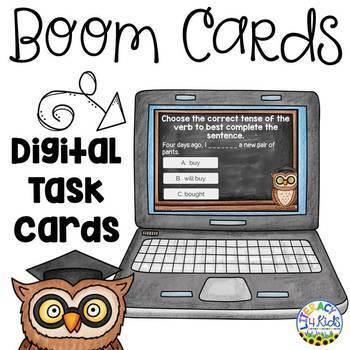 Simple Verb Tenses (Past, Present, Future) Boom Cards (Digital Task Cards)