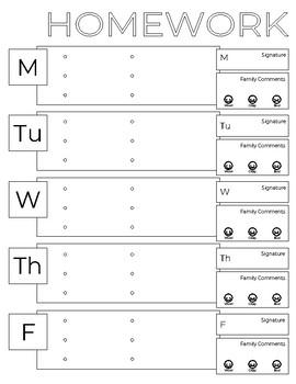 Simple Weekly Homework Chart