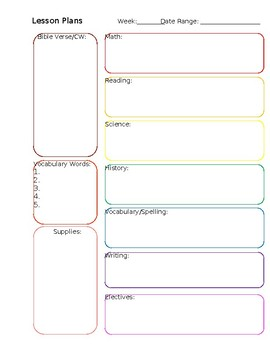 Simple Weekly Lesson Plan (Editable)