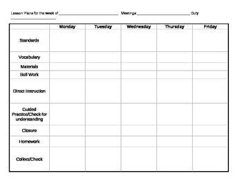 Simple Weekly Lesson Plan Grid