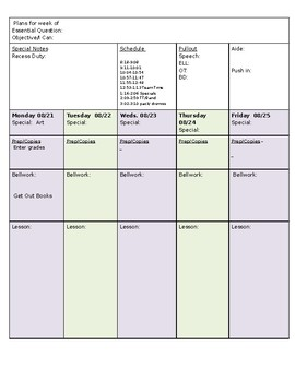 Simple Weekly Lesson Plan Template