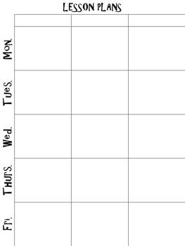 Simple Weekly Lesson Plans Printable Template