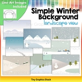 Simple Winter Background Clip Art (Wide View)