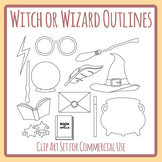 Simple Witch or Wizard Outline Clip Art Commercial Use