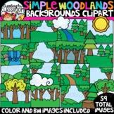 Simple Woodlands Backgrounds Clipart {Backgrounds Clipart}
