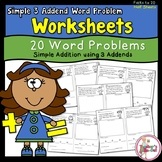 Simple Word Problem Worksheets Using 3 Addends Up to 20