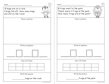Simple Word Problem Worksheets Using Addition and Subtraction Facts 1-10