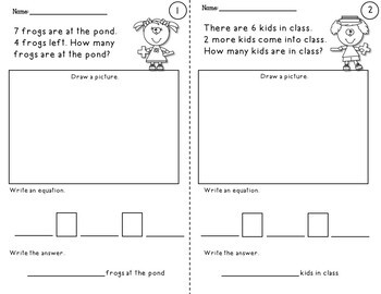 simple word problem worksheets using addition and subtraction facts