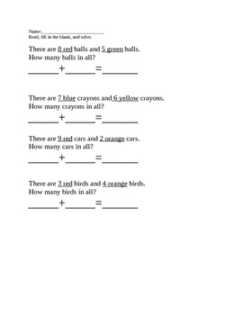 Simple Word Problems: Addition