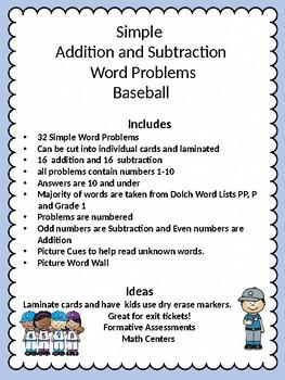 Simple Word Problems Baseball Edition