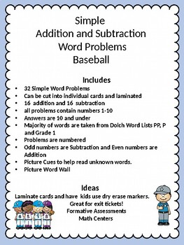 Simple Word Problems Baseball Edition by Tool Time | TpT