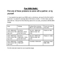 Simple Word Problems handout