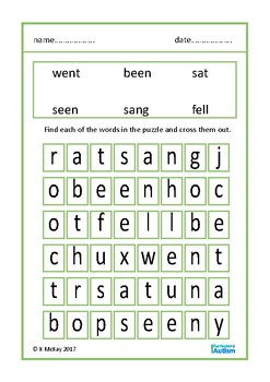 Past Tense Verbs Simple Word Search Puzzles Autism Special Education