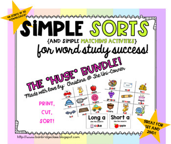 Simple Word Sorts and Matching Activities {Huge GROWING Bundle!}