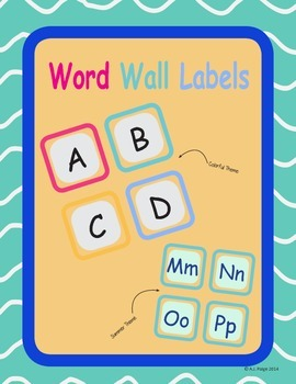 Simple Word Wall Headers- Two Different Color Themes!