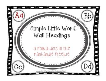 Simple Word Wall Headings