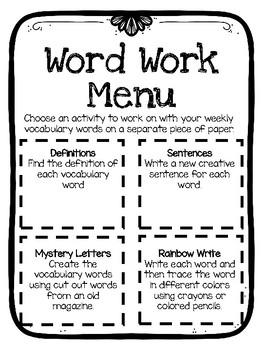 Simple Word Work Menu
