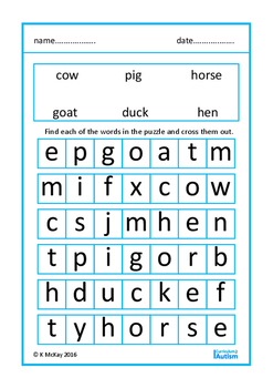 Simple Word Search Puzzles Autism Special Education