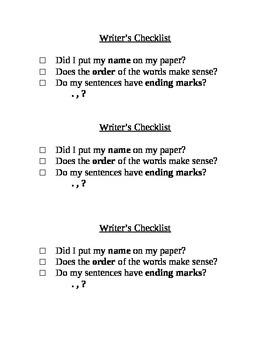 Simple Writer's Checklist