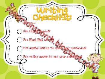 Simple Writing Checklist Poster