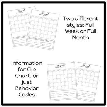 Simple Yearlong Student Behavior Calendar 2017-2018